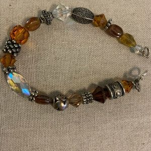 Hand beaded crystal and silver bracelet